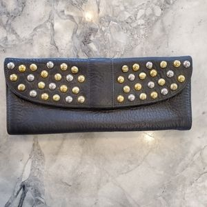 Brave Leather Clutch with Gold and Silver Rivets